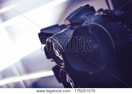 Digital Imaging Technogies. Digital Camera and Professional 35mm Lenses. Photography Concept.