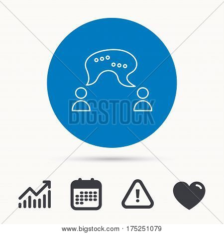 Chat icon. Comment message sign. Dialog speech bubble symbol. Calendar, attention sign and growth chart. Button with web icon. Vector