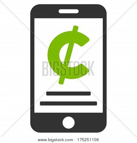 Cent Mobile Payment vector pictograph. Illustration style is a flat iconic bicolor eco green and gray symbol on white background.