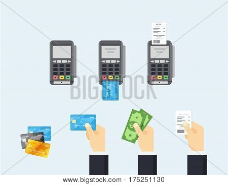 Hand puts debit credit card into POS terminal. Set of vector elements. Payment concept in flat style.