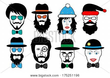 set face fake person hipster head vector illustration