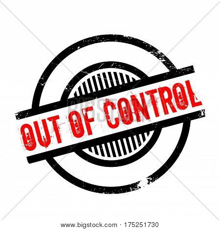 Out Of Control rubber stamp. Grunge design with dust scratches. Effects can be easily removed for a clean, crisp look. Color is easily changed.
