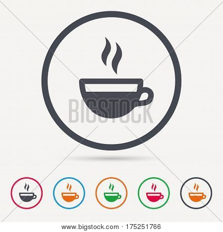 Coffee cup icon. Hot tea drink symbol. Round circle buttons. Colored flat web icons. Vector