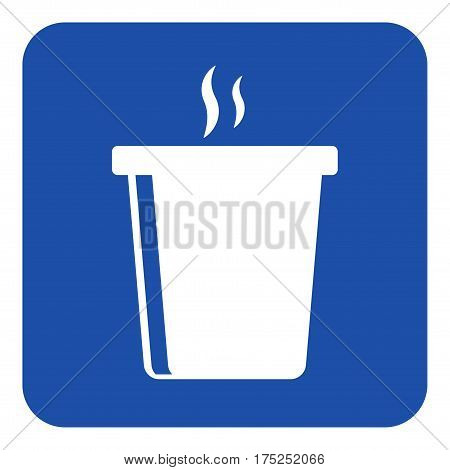 blue rounded square information road sign - white hot fastfood drink with smoke icon
