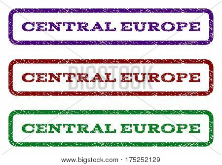 Central Europe watermark stamp. Text tag inside rounded rectangle frame with grunge design style. Vector variants are indigo blue, red, green ink colors. Rubber seal stamp with scratched texture.