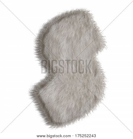 3d decorative animal fur letter S isolated on white background