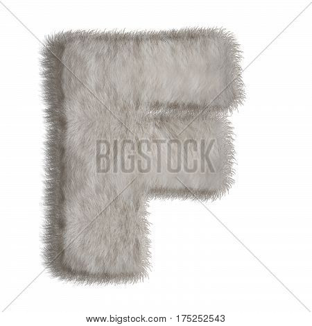 Letter  F in fur style. Natural funny alphabet isolated on white background