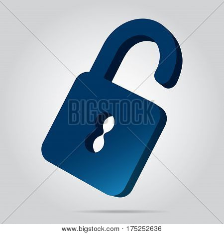 three dimensional illustration - blue open padlock icon with shadow in front of a gray background