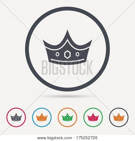 Crown icon. Royal throne leader symbol. Round circle buttons. Colored flat web icons. Vector