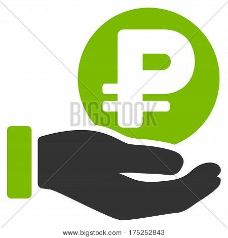 Rouble Coin Payment Hand vector pictograph. Illustration style is a flat iconic bicolor eco green and gray symbol on white background.