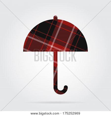 red black isolated tartan icon with white stripes - umbrella and shadow in front of a gray background