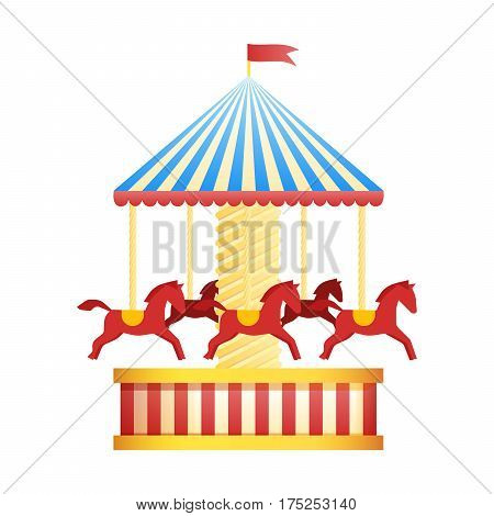 Vintage merry-go-round carousel icon, fair symbol. Amusement park theme. Cartoon vector illustration. Set of attractions. Funfair. Good emotions.