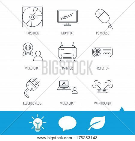 Monitor, printer and wi-fi router icons. Video chat, electric plug and pc mouse linear signs. Projector, hard disk icons. Light bulb, speech bubble and leaf web icons. Vector