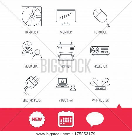 Monitor, printer and wi-fi router icons. Video chat, electric plug and pc mouse linear signs. Projector, hard disk icons. New tag, speech bubble and calendar web icons. Vector