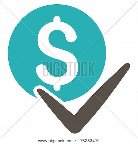 Accept Payment vector pictograph. Illustration style is a flat iconic bicolor grey and cyan symbol on white background.