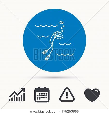 Diving icon. Swimming underwater with tube sign. Scuba diving symbol. Calendar, attention sign and growth chart. Button with web icon. Vector