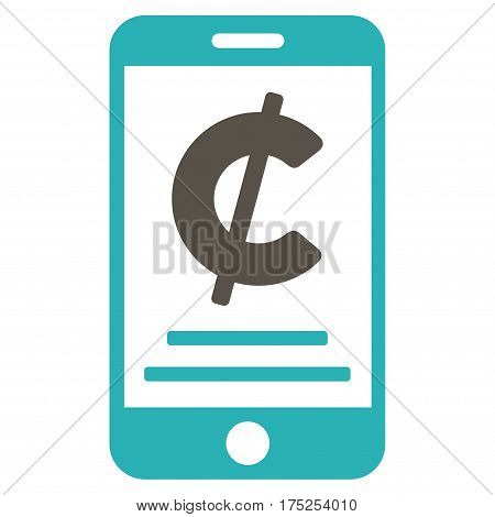 Cent Mobile Payment vector pictograph. Illustration style is a flat iconic bicolor grey and cyan symbol on white background.