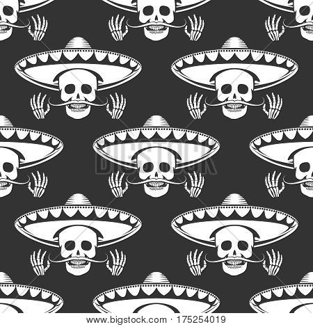 Seamless pattern with mustache human skull in sombrero and cross hands. Vector illustration