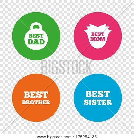 Best mom and dad, brother and sister icons. Weight and flower signs. Award symbols. Round buttons on transparent background. Vector