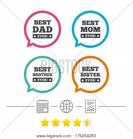 Best mom and dad, brother and sister icons. Award with exclamation symbols. Calendar, internet globe and report linear icons. Star vote ranking. Vector