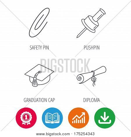 Graduation cap, pushpin and diploma icons. Safety pin linear sign. Award medal, growth chart and opened book web icons. Download arrow. Vector