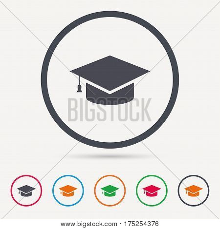 Education icon. Graduation cap symbol. Round circle buttons. Colored flat web icons. Vector