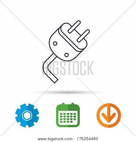 Electric plug icon. Electricity power sign. Cord energy symbol. Calendar, cogwheel and download arrow signs. Colored flat web icons. Vector