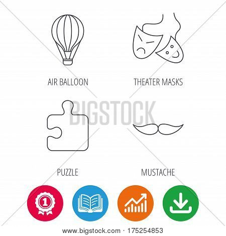 Puzzle, air balloon and theater masks. Mustache linear sign. Award medal, growth chart and opened book web icons. Download arrow. Vector