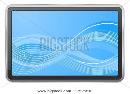 tablet pc with wave background screen