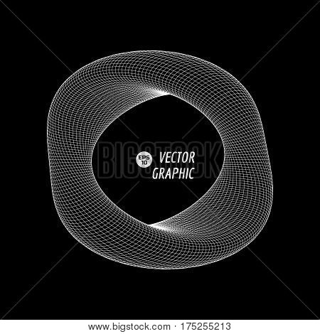Deformed 3d torus. Design element for science, technology illustration. Vector graphics.