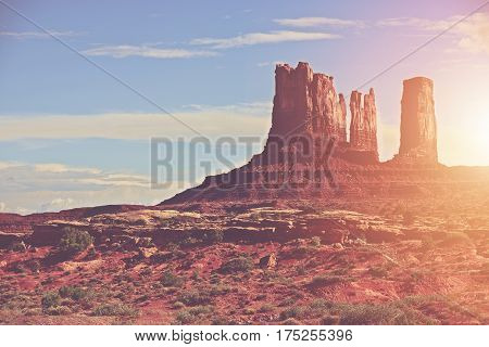 Sunny Arizona Landscape and Monuments Valley. United States of America. Arizona Desert Landscape