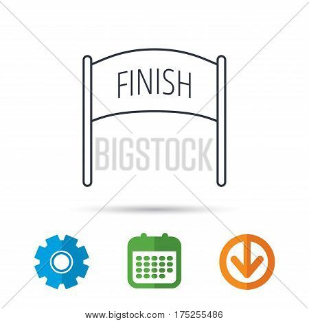 Finish banner icon. Marathon checkpoint sign. Calendar, cogwheel and download arrow signs. Colored flat web icons. Vector
