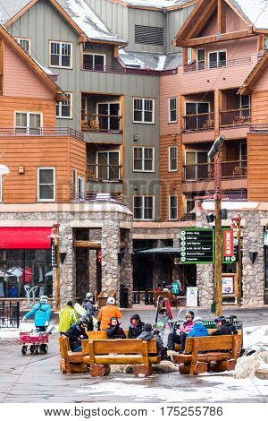Keystone Colorado USA-February 22 2015. Ski resort at the end of the season after the snow storm in Colorado.