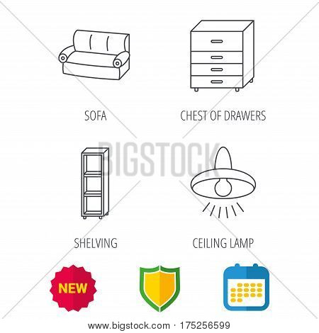 Sofa, ceiling lamp and shelving icons. Chest of drawers linear sign. Shield protection, calendar and new tag web icons. Vector