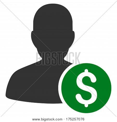 Investor vector pictogram. Illustration style is a flat iconic bicolor green and gray symbol on white background.