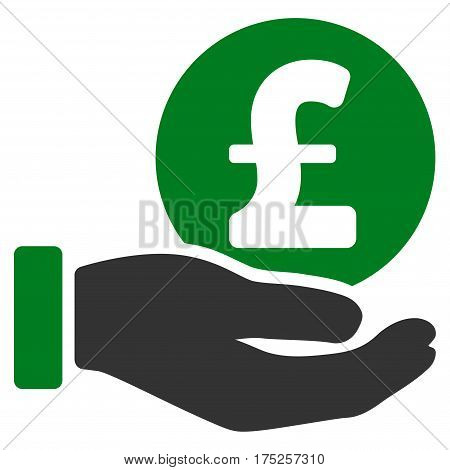 Pound Coin Payment Hand vector pictograph. Illustration style is a flat iconic bicolor green and gray symbol on white background.