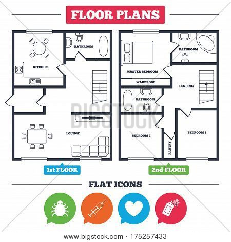 Architecture plan with furniture. House floor plan. Bug and vaccine syringe injection icons. Heart and spray can sign symbols. Kitchen, lounge and bathroom. Vector