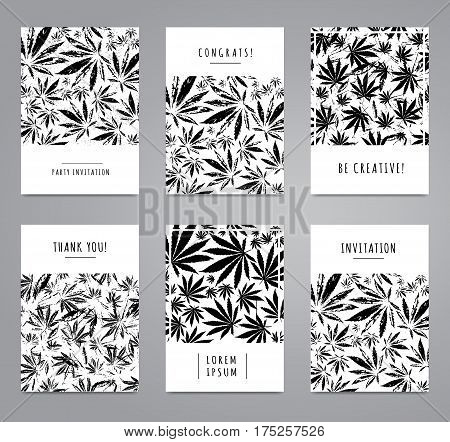 Set of cards with pattern of marijuana leaves for label poster web. Abstract black and white templates. Vector template Cannabis Sativa leaf for design card invitation placard brochure flyer.