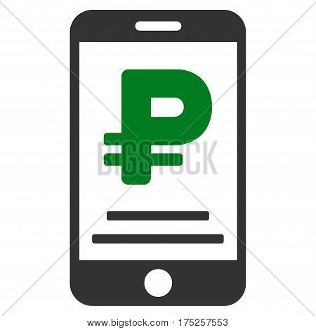 Rouble Mobile Payment vector pictograph. Illustration style is a flat iconic bicolor green and gray symbol on white background.