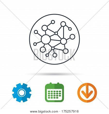 Global network icon. Social connections sign. Calendar, cogwheel and download arrow signs. Colored flat web icons. Vector