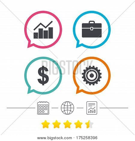 Business icons. Graph chart and case signs. Dollar currency and gear cogwheel symbols. Calendar, internet globe and report linear icons. Star vote ranking. Vector