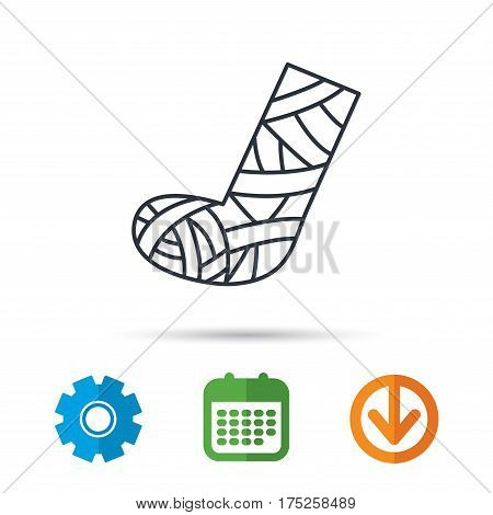 Gypsum or cast foot icon. Broken leg sign. Human recovery medicine symbol. Calendar, cogwheel and download arrow signs. Colored flat web icons. Vector