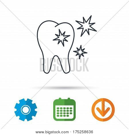 Healthy tooth icon. Dental protection sign. Calendar, cogwheel and download arrow signs. Colored flat web icons. Vector