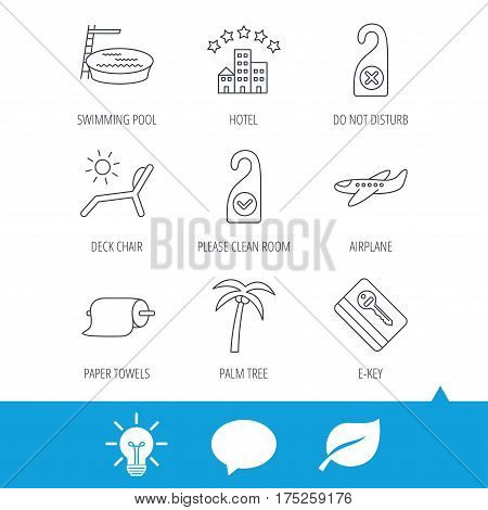 Hotel, swimming pool and beach deck chair icons. E-key, do not disturb and clean room linear signs. Paper towels, palm tree and airplane icons. Light bulb, speech bubble and leaf web icons. Vector