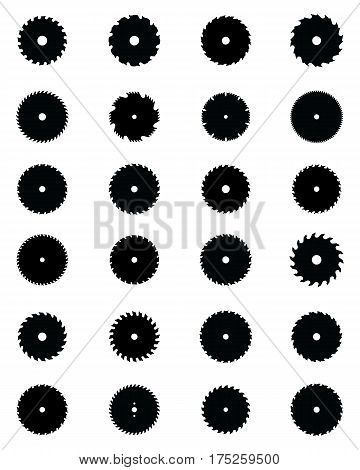Set of different circular saw blades on a white background