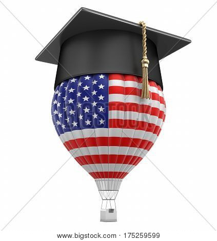 3D Illustration. Hot Air Balloon with USA Flag and Graduation cap. Image with clipping path