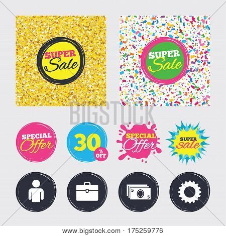 Gold glitter and confetti backgrounds. Covers, posters and flyers design. Businessman icons. Human silhouette and cash money signs. Case and gear symbols. Sale banners. Special offer splash. Vector