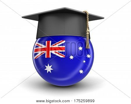 3D Illustration. Graduation cap and Australian flag. Image with clipping path