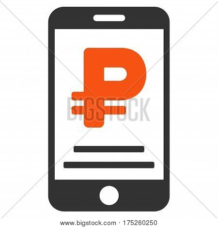 Rouble Mobile Payment vector pictogram. Illustration style is a flat iconic bicolor orange and gray symbol on white background.