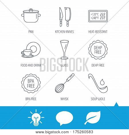 Kitchen knives, glass and pan icons. Food and drink, coffee cup and whisk linear signs. Soup ladle, heat-resistant and DEHP, BPA free icons. Light bulb, speech bubble and leaf web icons. Vector